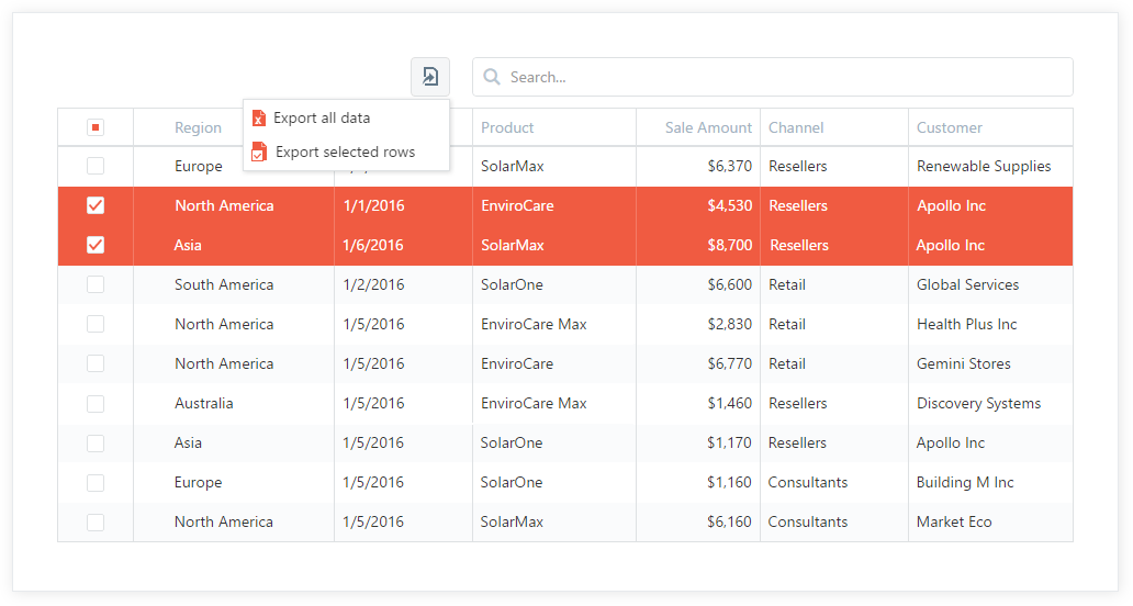 Comprehensive Data Export Options - DevExtreme DataGrid