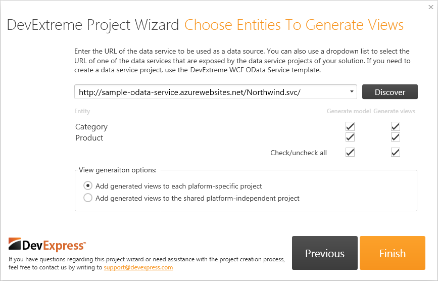 DevExtreme Project Wizard Third Page