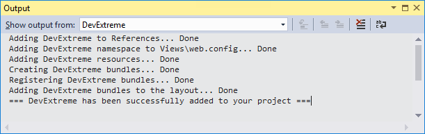 DevExtreme ASP.NET MVC Controls - Project Converter Output Window