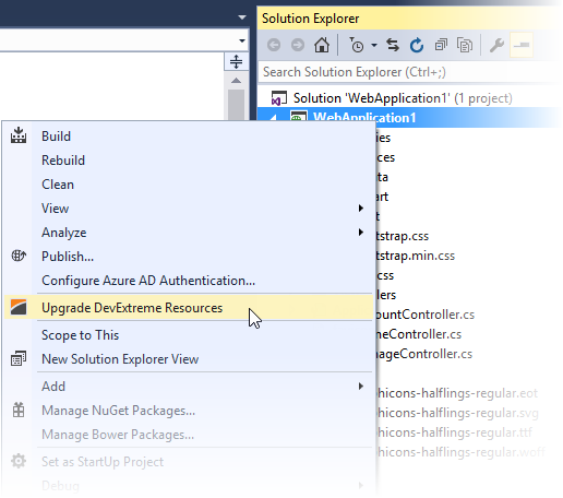 DevExtreme ASP.NET MVC Controls - Project Upgrader Context Menu Item