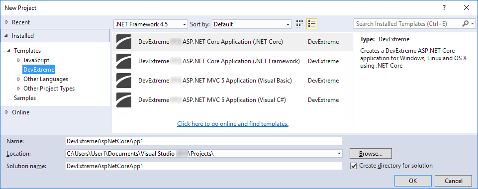 DevExtreme ASP.NET MVC Controls - Project Templates