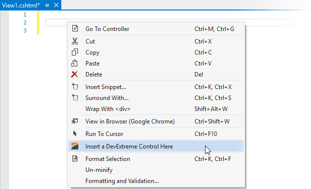 DevExtreme ASP.NET MVC Controls - Insert a DevExtreme Control Here on the context menu