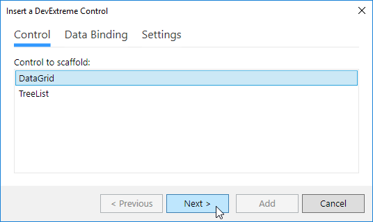 DevExtreme ASP.NET MVC Controls - The Insert a DevExtreme Control window