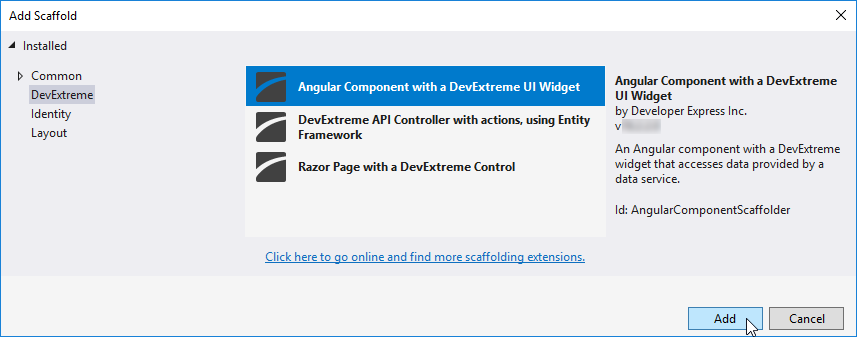 DevExtreme Angular Component Scaffolding - The Add Scaffold window