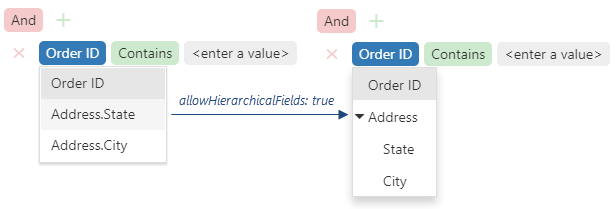DevExtreme HTML5 JavaScript Filter Builder Hierarchical Fields