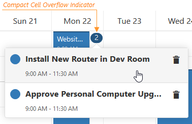 DevExtreme Scheduler: Compact Cell Overflow Indicator