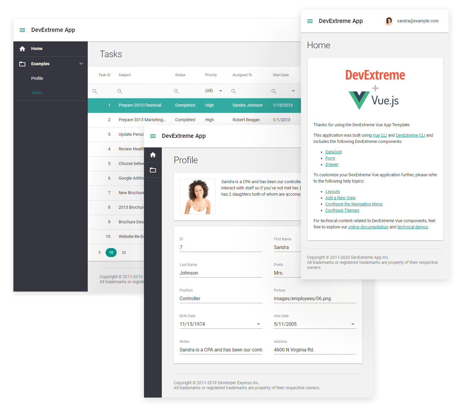 DevExtreme Vue Template
