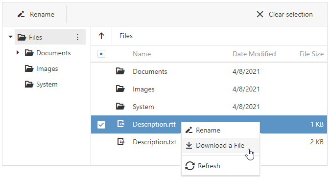 DevExtreme FileManager - Predefined Context Menu Items