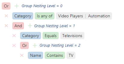 DevExtreme HTML5 JavaScript Filter Builder Group Nesting Levels
