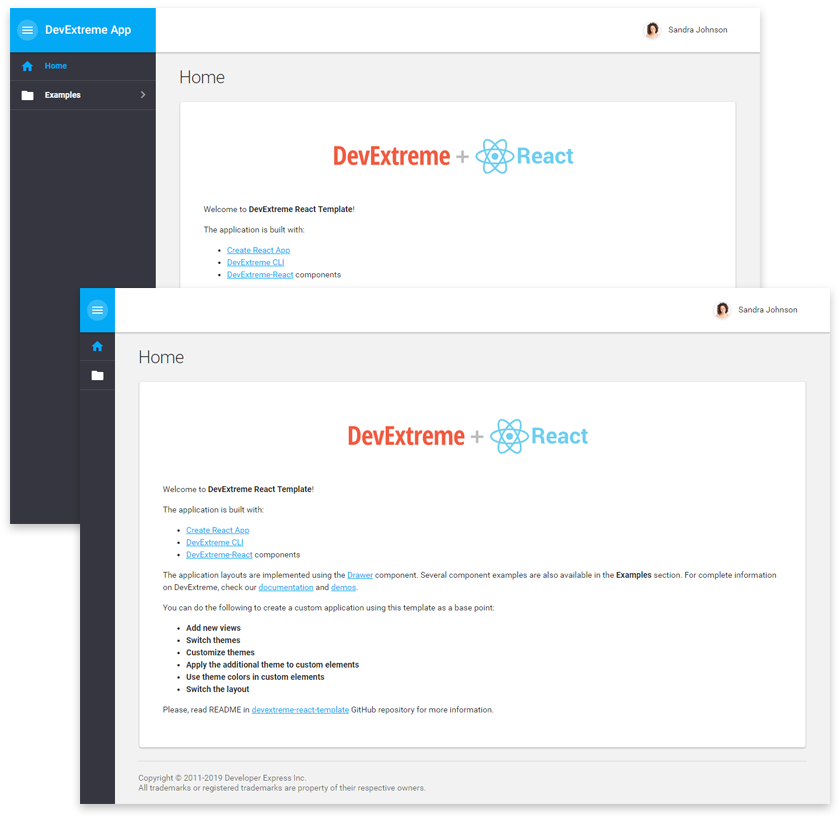 DevExtreme React Template - Inner toolbar