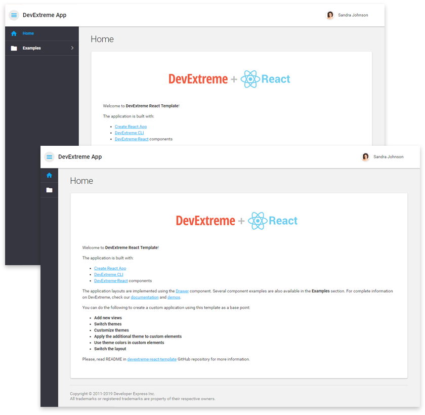 DevExtreme React Template - Outer toolbar